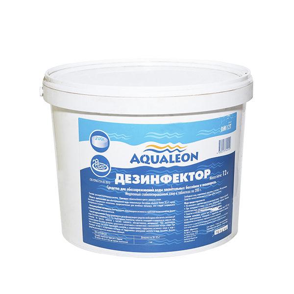 Aqualeon Дезинфектор МСХ (медленный стаб. хлор в таблетках 200г) 12кг